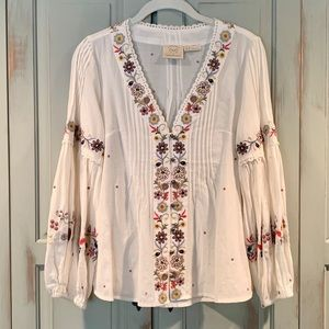 Anthropologie Embroidered Peasant Top